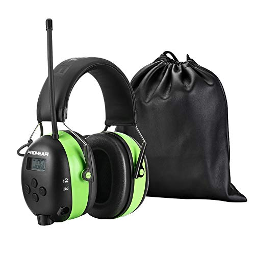 PROHEAR 033 Bluetooth Headphones with FM/AM Radio, Rechargeable Hearing Protector with Digital Display, Deep Bass for Mowing Lawn work