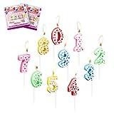 LOVEXIU Velas cumpleaños20PCS,Velas numeros Velas de Tartas Topper de Pastel Arco Iris de Número 0-9 Adornos para Favores de Fiesta de Cumpleaños