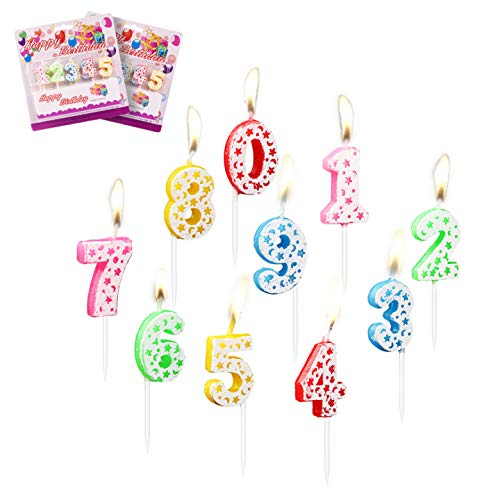 LOVEXIU Candele Compleanno 20PCS,Candela Compleanno,Candela Numero compleanno0-9,Decorazioni Compleanno candeline Compleanno, Decorazioni per Torte,Anniversari,Festa Compleanno