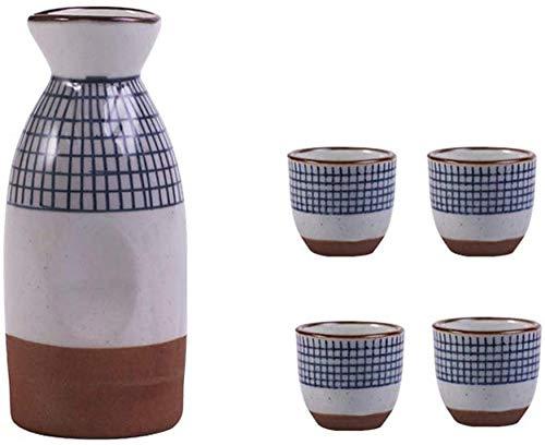 Juego de 5 copas de vino de diseño retro pintadas con rayas japonesas, incluye 1 botella de sake de 10 onzas, 4 tazas de sake de 1.7 onzas, el mejor regalo para familiares y amigos