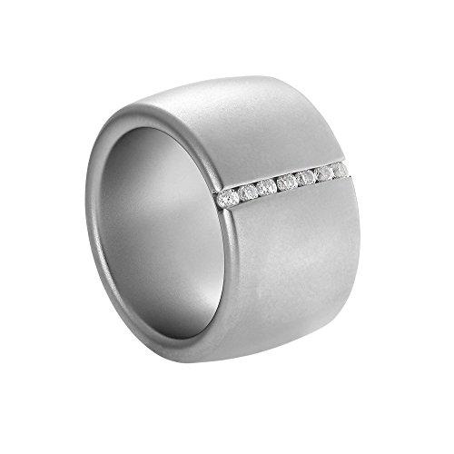 Heideman Ring Damen Lines aus Edelstahl Silber farbend matt Damenring für Frauen mit Stein Zirkonia Weiss im Brillant Schliff 1,5mm