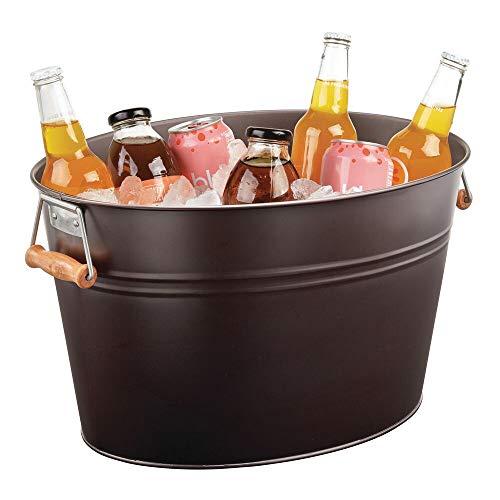mDesign Champanera de acero inoxidable – Enfriador de botellas decorativo con asas – Ideal como cubo para enfriar bebidas como vino, cerveza, cava o refrescos – color bronce