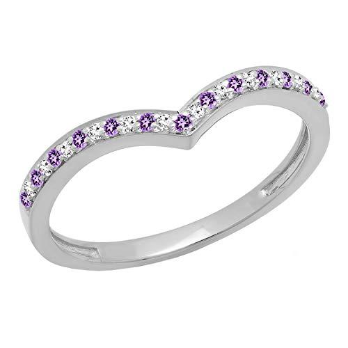 Dazzlingrock Collection 14K Amethyst & White Diamond Wedding Stackable Band Guard Chevron Ring, White Gold, Size 7