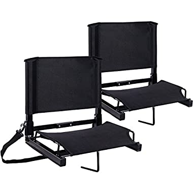 Ohuhu Stadium Seats Bleacher Chairs Seat with Backs and Cushion, Folding & Portable, Bonus Shoulder Straps, 2 Pack