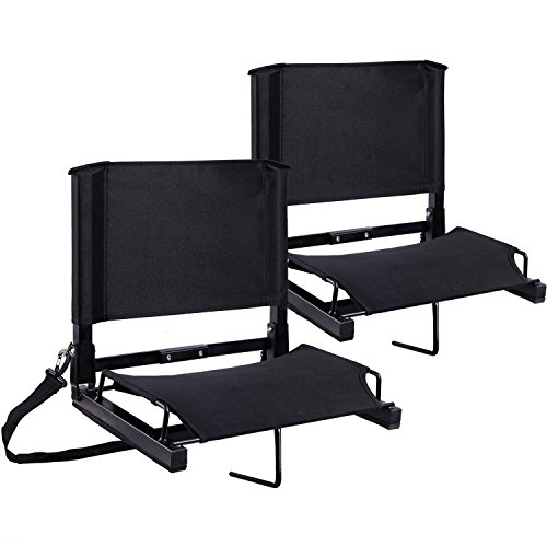 Stadium Seats Ohuhu Bleacher Chairs Seat with Backs and Cushion, Folding & Portable, Bonus Shoulder Straps, 2 Pack