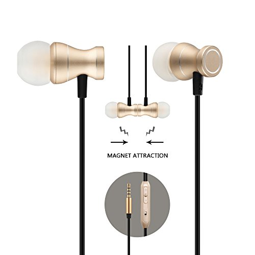in-Ear Earbuds Earphones, Acode 3.5mm Metal Housing Magnetic Best Wired Bass Stereo Headset Headphones Built-in Mic/Hands-Free/Volume Control+Carrying Case+3 Pair Earbuds (Gold)