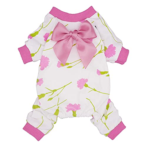 Fitwarm Dog Mother's Day Pajamas Carnation Costumes Pet Clothes Cat Jumpsuits Onesies Jammies Pink XS