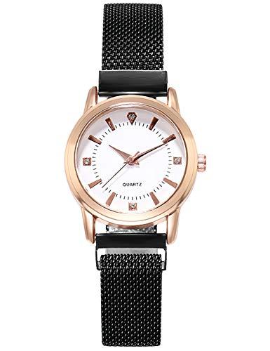 Damenuhr, Damen Analog Quarz Armbanduhr mit Edelstahlarmband, Wasserdicht Mesh Ultradünne Uhr für Damen Mädchen Mode Elegante Beiläufig Uhren Schwarz