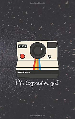 Photographer girl bullet journal for school, classes, courses: Polaroid image with galaxy background dotted notebook for professional photographers, camera lovers