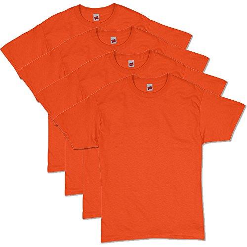 Hanes Men's Essentials Short Sleeve T-Shirt Value Pack (4-Pack), Orange, X-Large