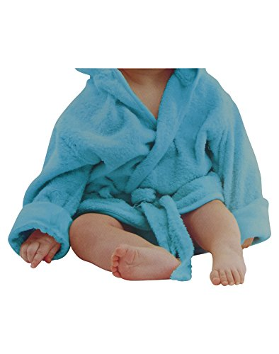 Baby weicher Frottee Bademantel mit Kapuze Gürtel und Knopf himbeer