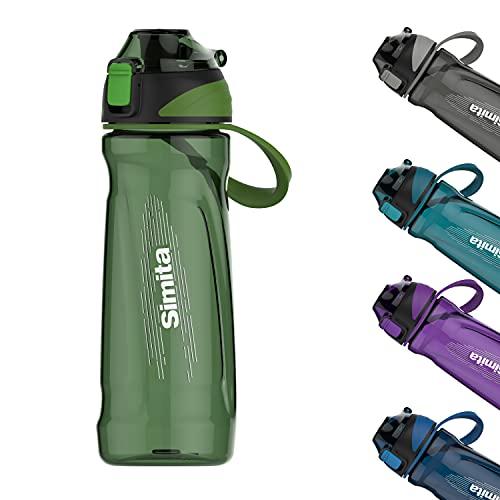 650 ml Sportwasserflasche für Schule, Fitnessstudio, Yoga, Läufer, Sportler, Reisen, Wandern, Radfahren, Tennis, Camping, BPA-frei Tritan ungiftig Sportflasche mit Filter & Klappdeckel, Grün