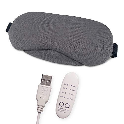 AhaSky Schlafmaske Damen und Herren, USB Dampf Schlafbrille mit Verstellbarem Gummiband, 100% Hautfreundlich Sleeping Mask mit Ohrstöpsel, Entworfen um Entlasten Sie die Augen Müdigkeit