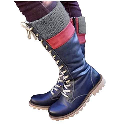DNOQN Stiefeletten Damen Leder Springerstiefel Boots Freizeit Schnürschuhe Mischfarben Flache Absätze Große Stiefel Schuhe Blau 40