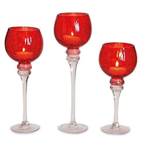 3 teiliges Glaskelch Windlicht Set, Kelche Crackle Design ROT auf Standfuß Kerzenhalter Kerzenständer Kerzenleuchter Höhe: 40, 35 & 30cm