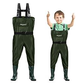 Magreel Waders Pêche Enfant, Chasse Waders Poitrine avec Bottes en Nylon/PVC, Taille Ajustable pour Garçons et Filles de…