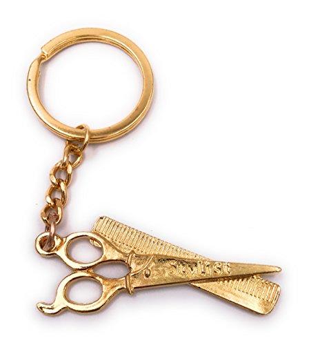 H-Customs Schere Stylest Friseur Schlüsselanhänger Anhänger Golden aus Metall