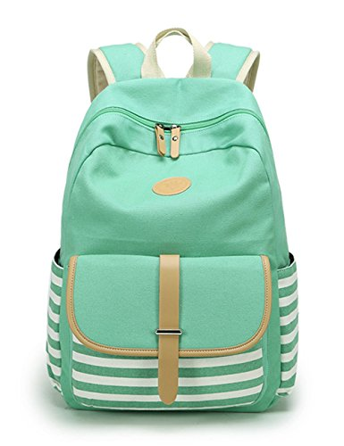 Leaper Canvas School Backpack for Girls Laptop Bag Shoulder Handbag Water Blue