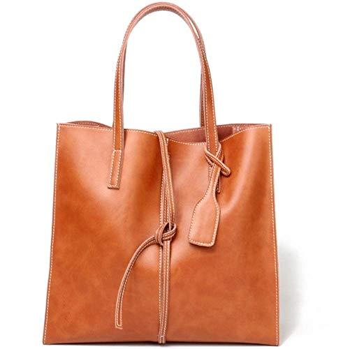 HLWAWA Leder Tasche Frauen Softleder Tasche Tragbare Ledertasche Einfache Practica große Kapazität Troddel-Handtaschen (Color : Brown)