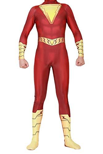 RedJade Billy Batson Captain Marvel Uniform Jumpsuit Overall Bodysuit Outfit Cosplay Kostüm Herren XXL
