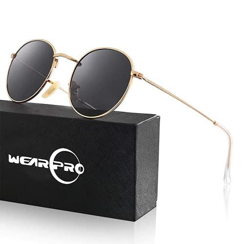 wearPro Retro Polarisiert Sonnenbrille Herren Damen Verspiegelt - Runde Retro Polarisierte Sonnenbrille Herren Damen Vintage (Frame:Gold;Lens:Schwarz)