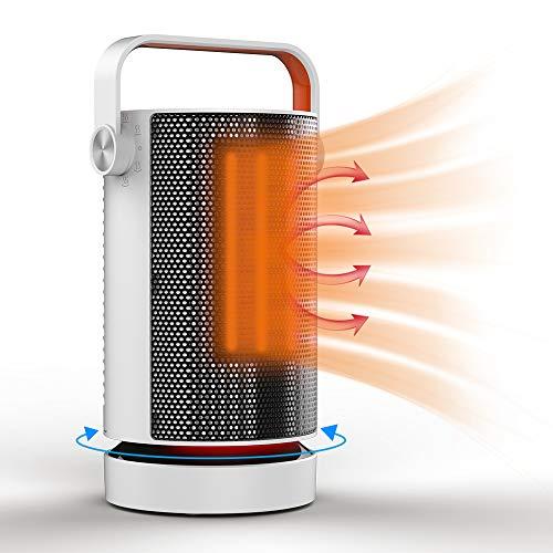 Calefactor, Qfun 1000W Calefactor Electrico, Calentador Cerámico Oscilación Automática y Función Silenco Calefacción Blanco