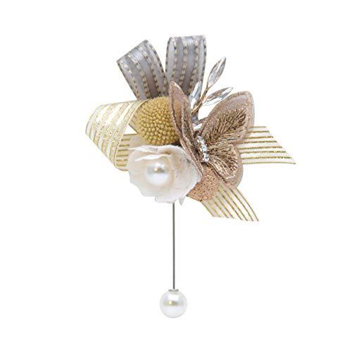 XPT Broche de mujer con forma de flor exquisita, de tela, para boda, baile, ramillete elegante, para compromiso, accesorios de boda, color dorado