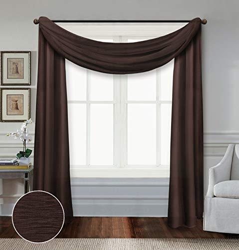 All American Collection Doli Sheer Living Bedroom Window Treatment Light Filter Curtain Panel (Sheer Scarf Only, Chocolate)