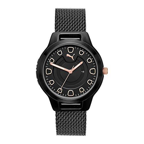 Puma Reset V1 - Reloj de Mujer Negro con Detalles de Oro Rosa y Silicona - P1010