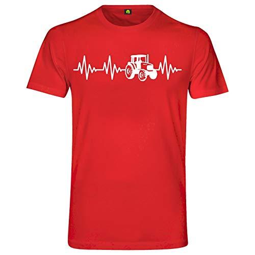 Herzschlag Traktor T-Shirt | Trecker | Landwirt | Schlepper Mähdrescher | Bauer Rot S
