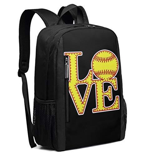 Love Softball Schulrucksack College Bookbag Lady Travel Rucksack Laptop Tasche für Jungen Mädchen