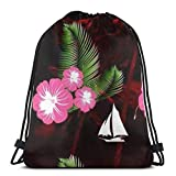Yuanmeiju Hawaiian Flower Palm Tree Sailing Boat 3D Print Drawstring Backpack Rucksack Shoulder Bags Bolsa de Gimnasio For Adult 17'X14'