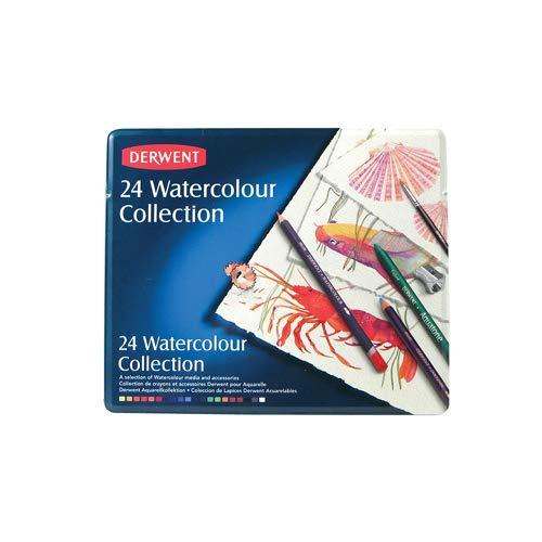 Derwent Watercolour Matite Colorate Idrosolubili in Scatola di Metallo, 24 Pezzi