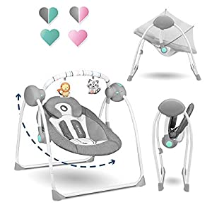 LIONELO Ruben Columpio-hamaca para bebé Niño hasta 9 kg Regulación del respaldo en 2 niveles 5 Velocidades de balanceo 12 Melodías Timer Gris y Turquesa