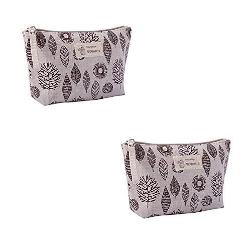 Parshall Bolsa de almacenamiento pequeña de lona para tarjetas de teléfono móvil, bolsa de artículos de tocador con cremallera monedero organizador cosmético, 2 unidades