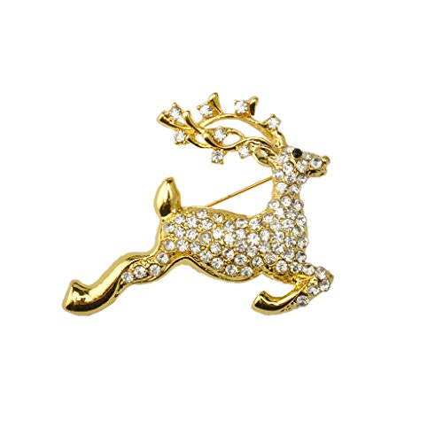 Milageto Navidad Corriendo Ciervo Cristal Rhinestone Collar Broche Pin Broche Oro