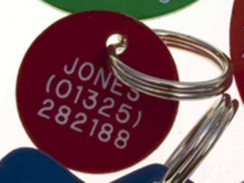 Etiquette gravée pour animaux de compagnie Acrylique cercle mini in Jaune Bleu, Blanc, Vert ou Rouge