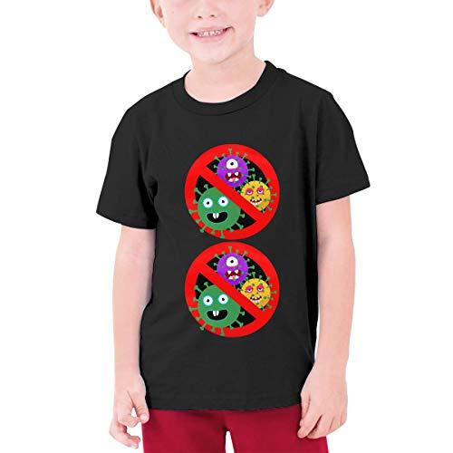Stop Coron-Avirus Youth Boys Teens Custom T-Shirt, Fashion Shirt for Boys and Girls Black