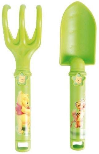 Esschert Design Pflanzkelle & Harke Winnie the Pooh, Gartenwerkzeuge für Kinder, Spaten, Kinderrechen, Kinderschaufel, grün, Disney Motiv, ca. 24 cm