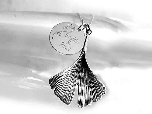 Halskette mit Zwei Silberanhängern, Gingko Blatt Anhänger & Gravurplatte, 925 Sterlingsilber