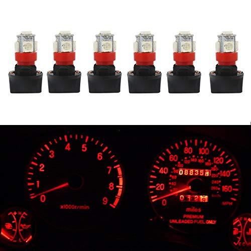 WLJH Lot de 6 ampoules LED rouges T10 168 LED PC194 PC195 PC168 pour tableau de bord avec base et douilles de 13 mm