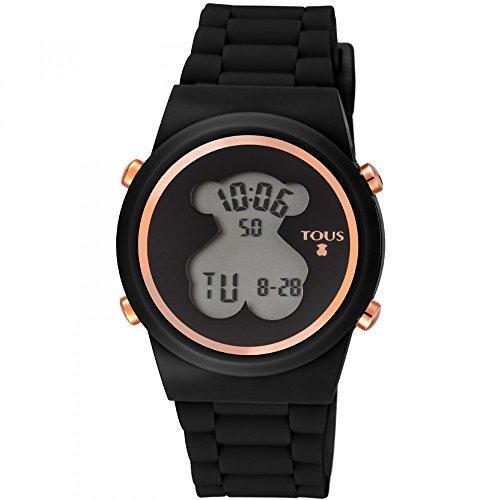 Reloj TOUS digital 700350320-Bear de acero IP rosado con correa de Silicona negra