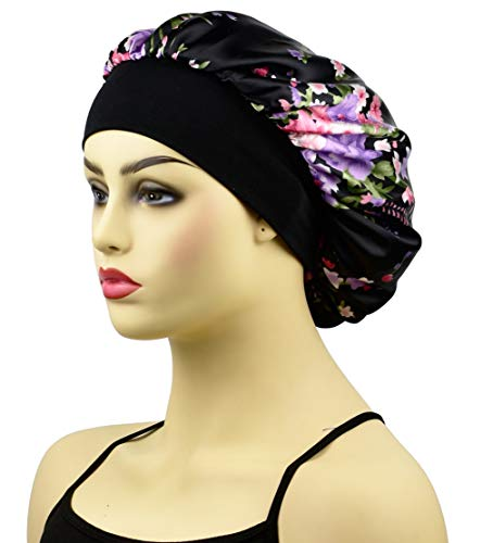 Satin Night Sleep Cap for Women, Wide Band Satin Bonnet Sleeping Caps & Hats Head Cover for Natural Hair Loss, Black Floral