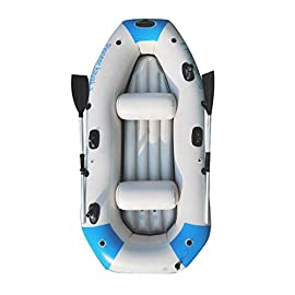 Kayak series, 3 person kayak, inflatable kayak set with oars and high output air pump (blue) 90. 5 ✕ 51 ✕14 in,deluxe… 1 high-quality materials: the hull adopts tough super-tough (pvc)made of polymer materials, thickened and wear-resistant greatly improves the pressure resistance of the air chamber, it is comfortable to ride and use four independent airbags: if one is damaged, the other three are not affected,4-5 boston valves on main hull chamber for quick-fills and fast-deflations. Air chamber are separate from each other. Reducing the risk of accident s in use. Nimble, durable: kayak is made of durable welded material with eye catching graphics for added safety on the lake or slow moving river