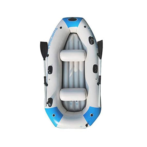Kayak Series, 3 Person Kayak, Inflatable Kayak Set with Oars and High Output Air Pump (Blue) 90.5 ✕ 51 ✕14 in,Deluxe… 1 High-quality materials: the hull adopts tough SUPER-TOUGH (PVC)Made of polymer materials, thickened and wear-resistant greatly improves the pressure resistance of the air chamber, It is comfortable to ride and use Four independent airbags: if one is damaged, the other three are not affected,4-5 Boston valves on main hull chamber for quick-fills and fast-deflations. air chamber are separate from each other. reducing the risk of accident s in use. Nimble, durable: kayak is made of durable welded material with eye catching graphics for added safety on the lake or slow moving river