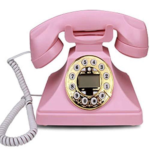 DGHJK Telefono con Filo, Selezione di Pulsanti del Telefono retrò, Moda Creativa Ufficio casa cablata Vintage retrò Telefono Fisso - Rosso