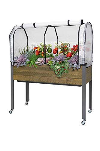 "CedarCraft Self-Watering Elevated Spruce Planter (21"" x 47"" x 32'H) Greenhouse Cover"