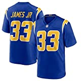 Maillots de Football américain pour Hommes Chargers de Los Angeles 33#, Derwin James Training Jersey de Rugby de Fan brodé, Sweat-Shirts pour jeunes-blue-2XL(190~195)