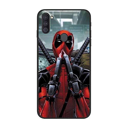 Black Case for Samsung Galaxy A11, MV-Hero Deadpool-Spider 7 TPU Matte Silikon Coque Slim Fit Anti-Scratch Print Flexible Gel