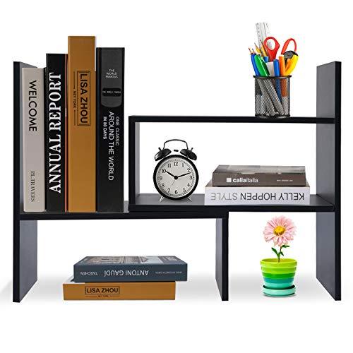 Hossejoy Bücherregal, Einstellbar Standregal Bücherregal, Bücher Halter für Regal, Erweiterbar Standregal Holzregal aus Holz für Büro, Wohnzimmer (Schwarz)